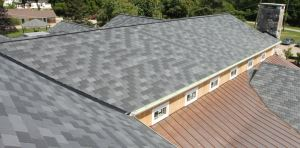 The owners preferred slate for the restaurant's roof but couldn't afford it. They chose Inspire Aledora Slate composite roofing instead.
