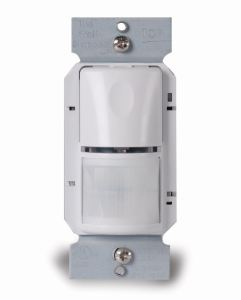 The Wattstopper Passive Infrared (PIR) wall switch occupancy sensor features manual-on control.