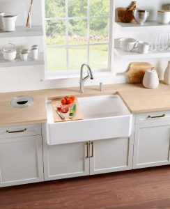 Farmhouse-Style Single Bowl Kitchen Sink Saves Counter Space - retrofit