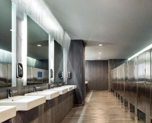 The public restrooms in the hotel's lobby feature touchless products.