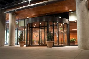 The remodeled entrance area includes an automatic revolving door that uses less interior space.