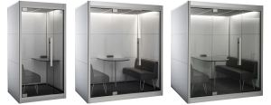 The SnapCab Pods are moveable meeting spaces that offer privacy and quietness.