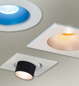 The modular Iolite LED Downlight Series produces white downlight while the collars add a colorful glow to create visual interest or define a space.