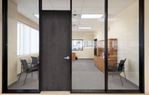 The Double Glaze Office Partition System keeps exterior sound out and interior sound in.