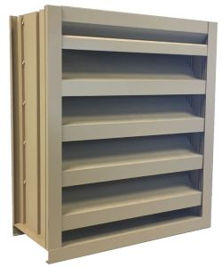 The EME720 seven-inch horizontal louver features a continuous-blade architectural appearance.