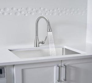Kitchen Faucet Features Pull-Down Spray - retrofit