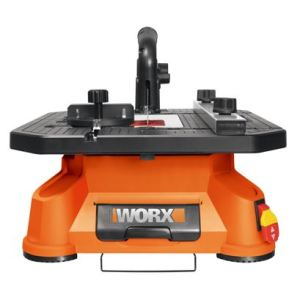 The BladeRunner X2 benchtop saw does the work of multiple saws by making rip, crosscut, scroll, inside and miter cuts using standard T-shank jigsaw blades.