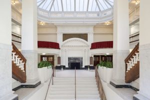 On the interior, the grand second floor lobby was reconnected with the main entry.