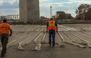 Western Specialty Contractors work to restore and waterproof the roof of the Museum of Westward Expansion located beneath the Gateway Arch on the St. Louis riverfront.