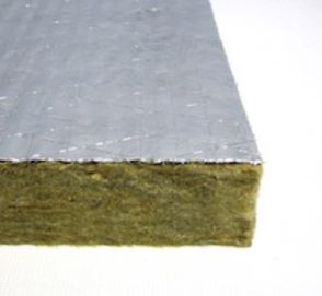 The Rockfon Plenum Barrier Board is a foil-faced, stone wool barrier that installs above interior partitions.