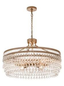 The crystal beads of the Corsica Chandelier simulates the movement of water droplets.