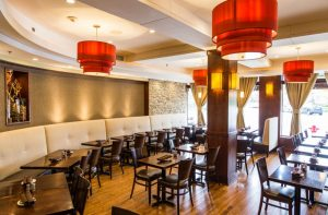 Abigail's American Bistro strives to create a neighborhood dining experience. Lighting helps set the mood for the restaurant.