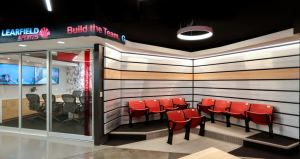 The renovation project at Learfield marries the exciting atmosphere of a stadium or arena with an everyday business office.