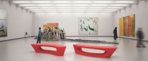 the Boomerang bench is suited for interior and exterior applications in museum, hospitality and corporate environments.