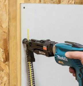 The Quik Drive PRODW drywall system includes a collated-screw feed mechanism designed to provide screw delivery.