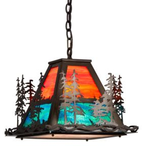 The art glass pendant reveals a stand of tall pine trees that overlook a mountain lake featured in blue-green art glass.