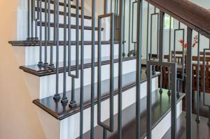 The Contempo Collection of iron balusters are available in either a low sheen black or matte nickel finish.