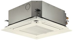 The PLFY-P Ceiling Cassette offers a square-edge design that fits into the same 2- by 2-foot dimensions as other standard ceiling tiles.