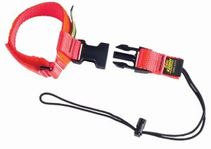 Tether tools up to 5 pounds to the side release wrist lanyard system when climbing or working in close quarters.