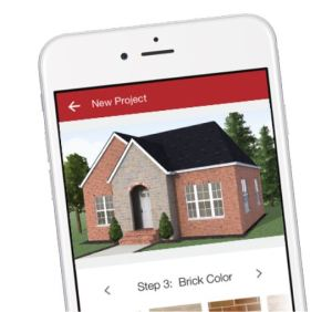 The My Designs app provides the ability to see how a home would look with different brick and stone selections.