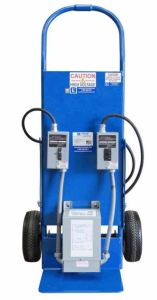 The portable power distribution unit allows operators to tap into 110V AC power from a variety of sources such as generators or direct grid power.