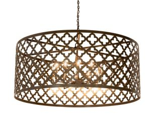The Clover Pendant series features a 5-light faux candelabra for ambient lighting.
