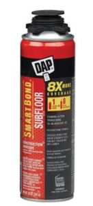 The DAP SMARTBOND Subfloor Construction Adhesive delivers a a bond on plywood, OSB and moisture resistant OSB panels.