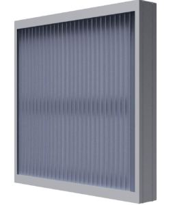 The vertical blade spacing of the vertical stationary louver prevents penetration of wind-driven rain.