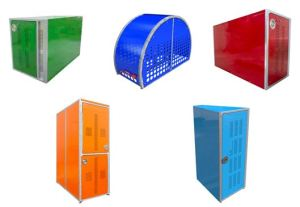 This line of steel bike lockers are an option for long-term bike parking applications.