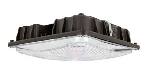 The square LED Canopy Luminaires are available in 40 and 50 watt options to replace 175 and 250 watt Halogen lamps.
