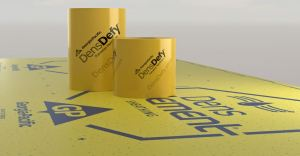 The DensDefy Transition Membrane bonds to most building substrates and allows for adhesion without primer.