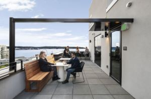 A new rooftop terrace offers views to the Sound.