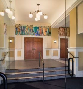 Conti murals from the 1930's were removed, restored, and remounted in the lobby.