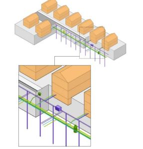 GeoMicroDistrict: Ground-source heat pump closed vertical systems could be installed in a single row along an existing utility corridor. Vertical boreholes and service connections could be located between existing infrastructure.