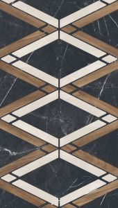 MARCO POLO tiles pair marble with wood in patterns.