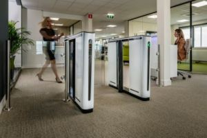 The Speedlane Compact is an optical turnstile that accommodates smaller spaces often found in older buildings.