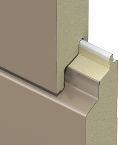 The Versawall H+ Insulated Metal Panel is comprised of a galvanized steel face and foam insulation.