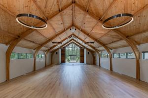 To create the craftsman look, various natural materials were specified, including cedar planks in the sanctuary.