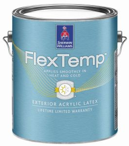 FlexTemp Exterior Acrylic can be applied in temperatures ranging from 35 F to 120 F.