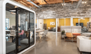 Plans for the new facility focused on showcasing the company's office furniture displays as well as creating an open work space with multiple collaboration areas.