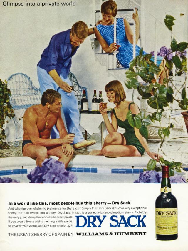 Vintage advert in 1960s magazine dated 1964 for DRY SACK Spanish sherry. Image shot 1964. Exact date unknown.