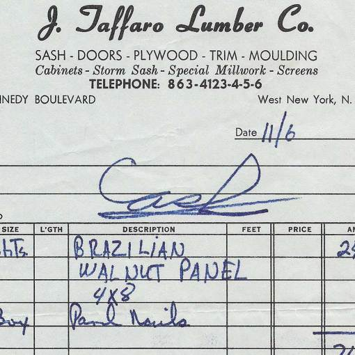 1969 Receipt for Wood Paneling