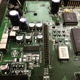 Amiga 1200 Mainboard Recapped with modulator removed