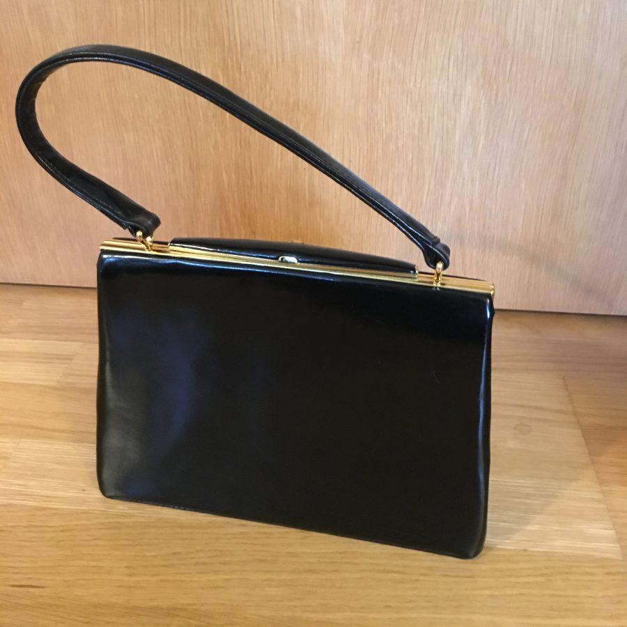 edde2c509463 Black Patent Leather Kelly Bag By Freedex - RetroSpectro