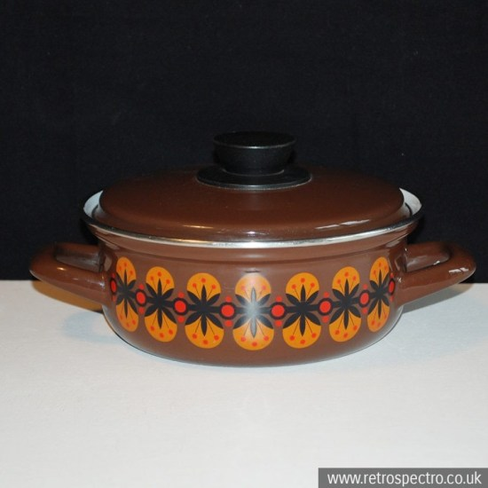Enamel Casserole with orange pattern