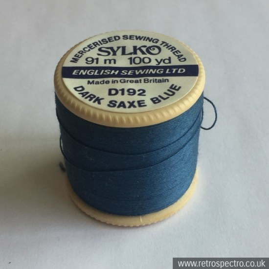 Sylko plastic cotton reel D192 Dark Saxe Blue
