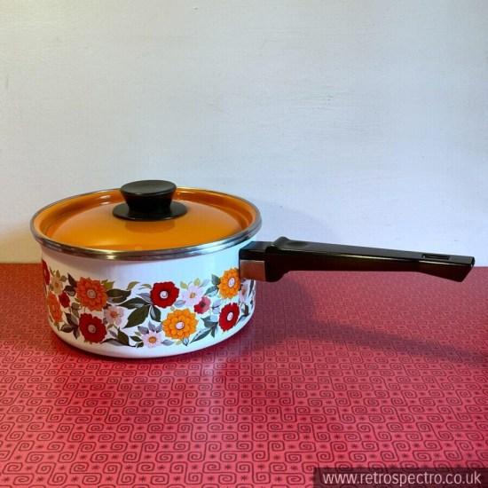 Vintage Enamel Pan With Floral Pattern & Orange Lid