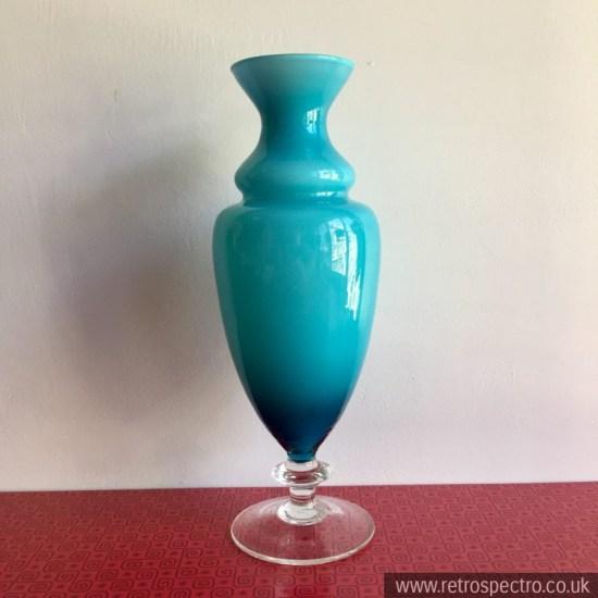 Vintage blue cased glass vase