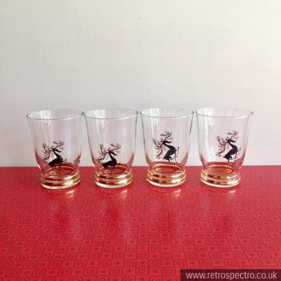 Glasses With A Deer Design 1950's