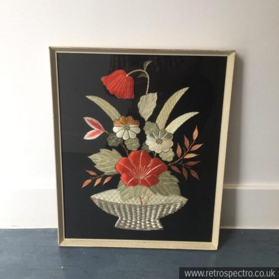 Flower vintage framed embroidered picture 1950's